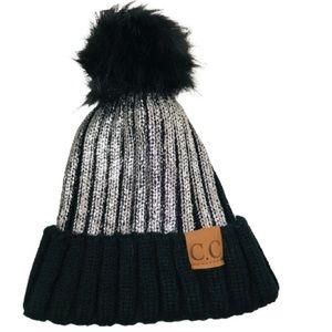 2/$25 CC Pom Beanie unique black silver winter hat